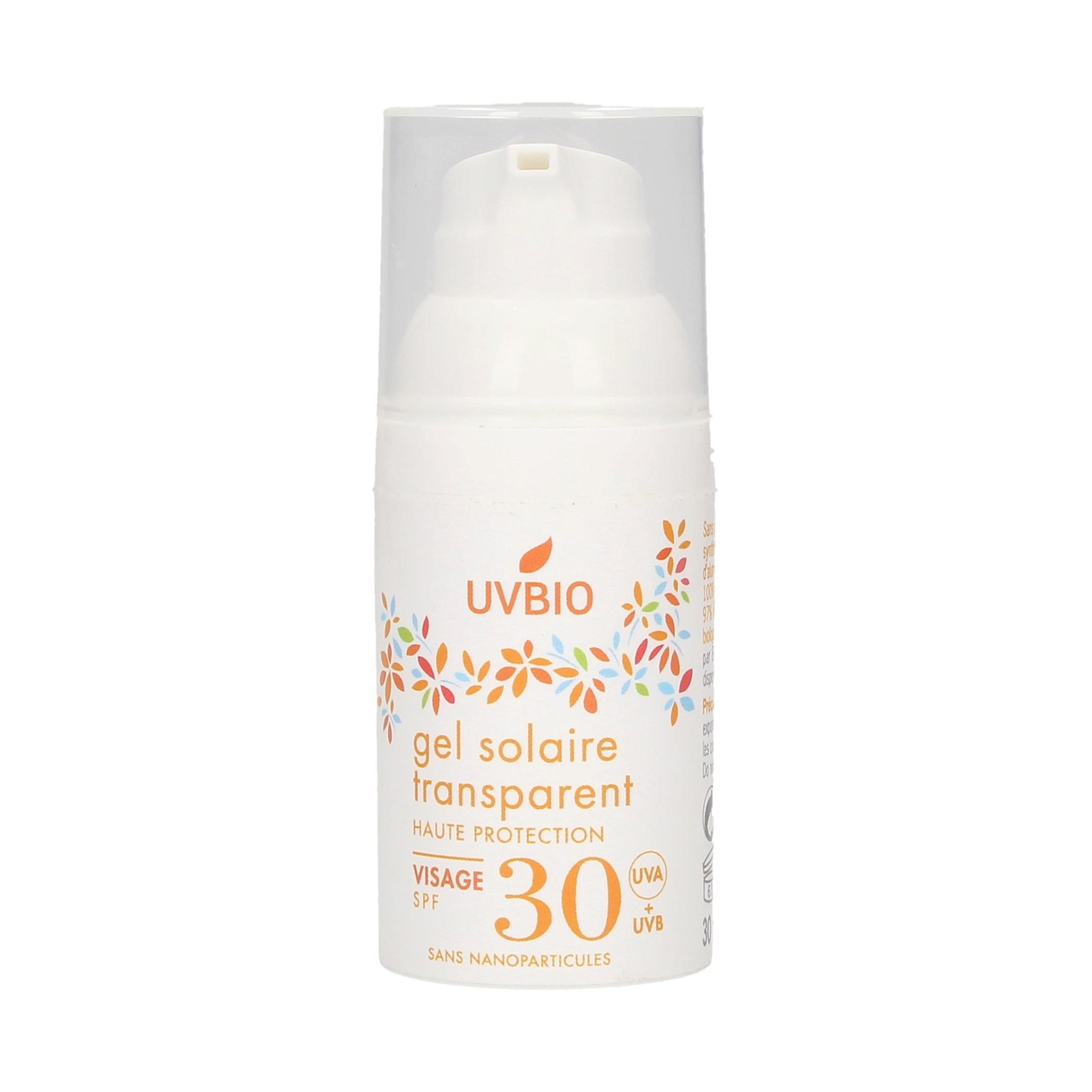UVBIO - Gel solaire SPF 30 transparent visage